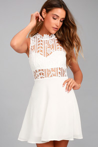 Elora White Lace Skater Dress