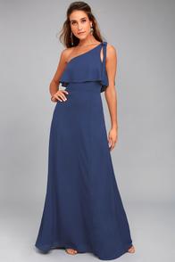 Purpose Navy Blue One-Shoulder Maxi Dress