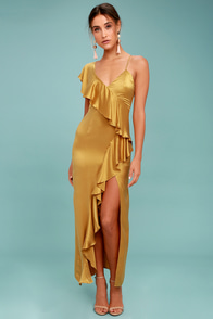 New Friends Colony Evita Gold Maxi Dress