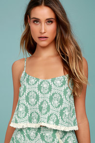 Heart of the Desert Sage Green Floral Print Crop Top