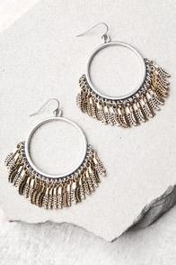Plume Gold and Silver Hoop Earrings