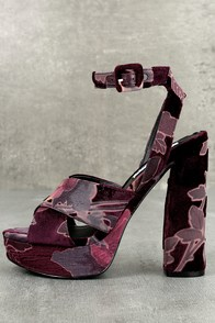 Steve Madden Jodi Burgundy Velvet Platform Ankle Strap Heels