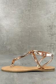Jessa Rose Gold Patent Thong Sandals