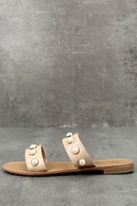 Xandra Nude Pearl Slide Sandals