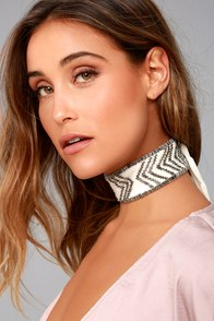 New Friends Colony Deco Ivory and Gunmetal Choker Necklace
