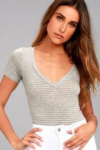 Charming Chance Heather Grey Striped Bodysuit