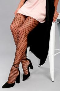 1920s Style Stockings, Tights, Fishnets & Socks Own It Black Rhinestone Fishnet Tights $18.00 AT vintagedancer.com
