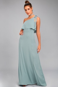 Purpose Dusty Sage One-Shoulder Maxi Dress
