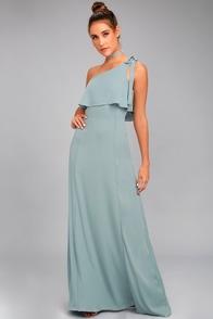 Purpose Dusty Sage One-Shoulder Maxi Dress