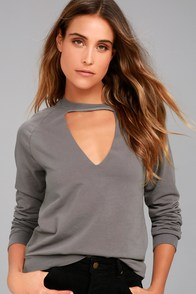 Project Social T Bre Charcoal Grey Sweatshirt