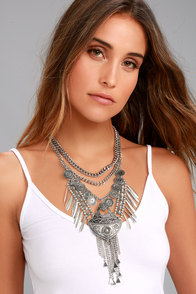 Mythic Melody Silver Layered Statement Necklace