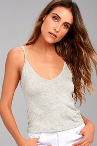 Project Social T Liv Heather Grey Crop Top
