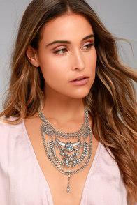 Boho Bounty Silver Rhinestone Layered Statement Necklace