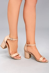 Miranda Nude Patent Ankle Strap Heels