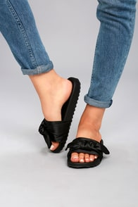 Magali Black Knotted Slide Sandals