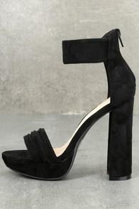 Zada Black Suede Platform Ankle Strap Heels