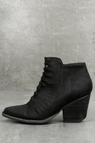 Coconuts Ally Black Nubuck Cutout Ankle Booties