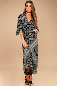 Amuse Society Scorpio Black Print Maxi Dress