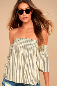 Billabong Free Flows Cream Striped Off-the-Shoulder Top