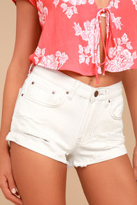 Billabong Just Me White Distressed Denim Shorts
