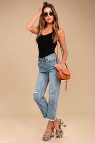 Amuse Society Jennings Medium Wash Distressed High-Waisted Jeans