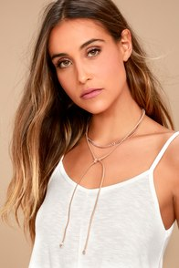 Real Radiance Rose Gold and Tan Suede Wrap Choker Necklace