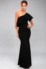 So Amazed Black One-Shoulder Maxi Dress