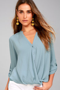 If I Told You Slate Blue Button-Up Top