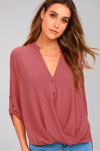 If I Told You Rusty Rose Button-Up Top