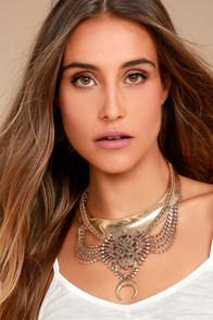Boho Magic Gold Rhinestone Layered Collar Necklace