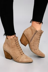 Coconuts Ally Natural Nubuck Cutout Ankle Booties