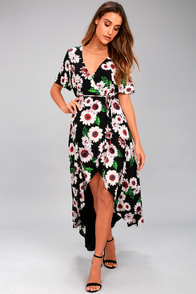 Flower Market Black Floral Print High-Low Wrap Dress