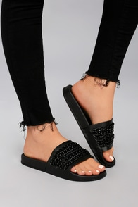 Kora Black Chain Slide Sandals