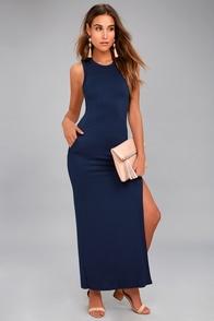 Shield and Sword Navy Blue Sleeveless Maxi Dress