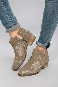 Seychelles Lantern Taupe Suede Leather Embroidered Ankle Booties