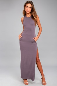 Shield and Sword Dusty Purple Sleeveless Maxi Dress