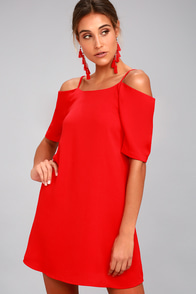 PPLA Leanne Red Off-the-Shoulder Shift Dress
