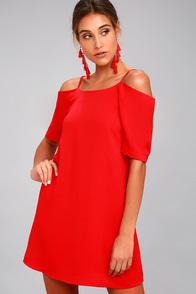 PPLA Leanne Red Off-the-Shoulder Shift Dress