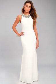 Pledging My Love White Beaded Maxi Dress