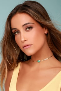 Bentley Gold and Turquoise Choker Necklace