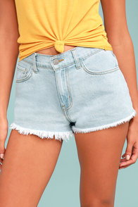 Kick Back Light Wash Cutoff Denim Shorts