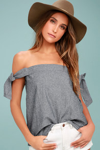 Arlene Navy Blue Off-the-Shoulder Top