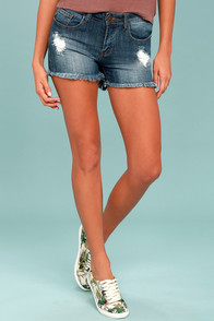 Trailblazer Medium Wash Distressed Cutoff Denim Shorts