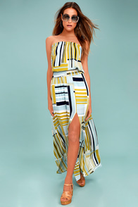 My Sunrise Chartreuse Striped Strapless Maxi Dress