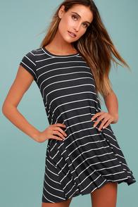 Billabong Rockin Down Charcoal Grey Striped Swing Dress