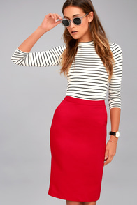 Daily Wonder Red Bodycon Midi Skirt