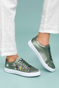 Callie Khaki Green Satin Embroidered Sneakers