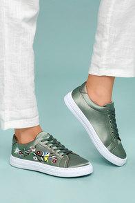Callie Khaki Green Satin Embroidered Sneakers