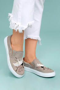 Raya Light Grey Suede Embroidered Slip-On Sneakers