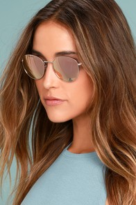 Perverse Lainey Silver and Pink Mirrored Sunglasses